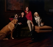 "<h5>Dogs and their People</h5><p>Oil  |  64"" x 72""</p>"
