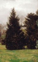 "<h5>Evergreens in Fairmount Park</h5><p>Oil  |  18"" x 10""</p>"